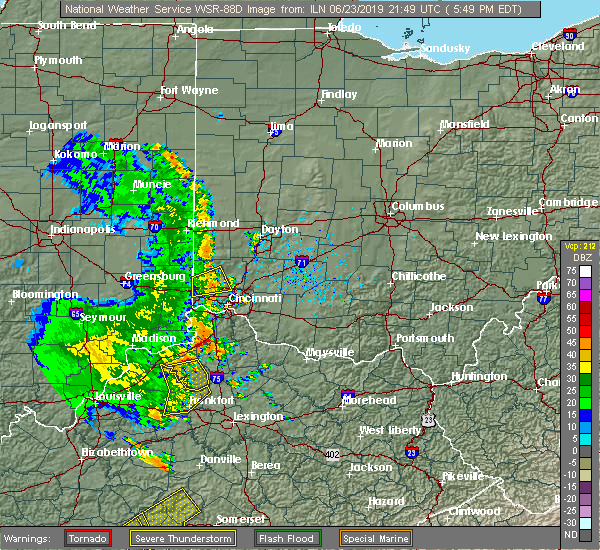 Radar Image for Severe Thunderstorms near Greenhills, OH at 6/23/2019 5:54 PM EDT