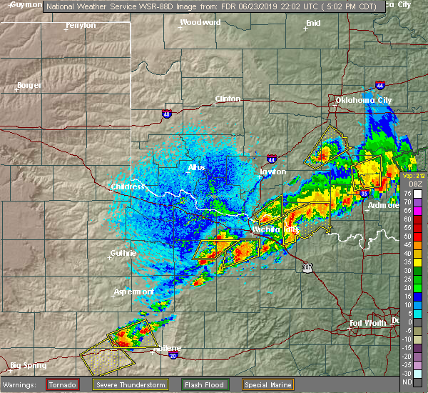 Radar Image for Severe Thunderstorms near Temple, OK at 6/23/2019 5:07 PM CDT