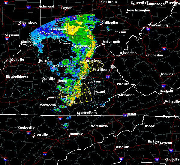 Radar Image for Severe Thunderstorms near Booneville, KY at 6/23/2019 8:17 PM EDT