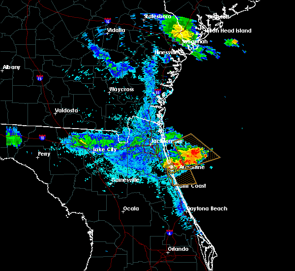 Radar Image for Severe Thunderstorms near St. Augustine South, FL at 6/23/2019 9:32 PM EDT