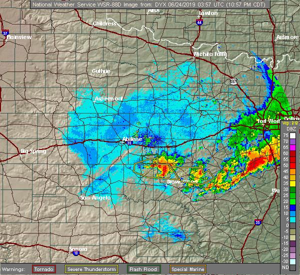 Radar Image for Severe Thunderstorms near Cross Plains, TX at 6/23/2019 11:01 PM CDT