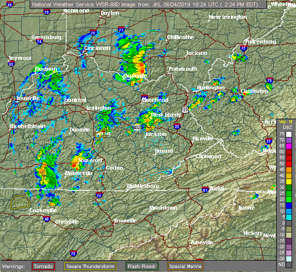 Radar Image for Severe Thunderstorms near Berea, KY at 6/24/2019 2:31 PM EDT
