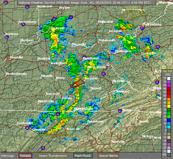 Radar Image for Severe Thunderstorms near Jackson, KY at 6/24/2019 4:48 PM EDT