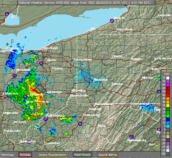 Radar Image for Severe Thunderstorms near Plainfield, OH at 6/24/2019 4:55 PM EDT