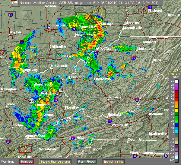 Radar Image for Severe Thunderstorms near McConnelsville, OH at 6/24/2019 5:14 PM EDT
