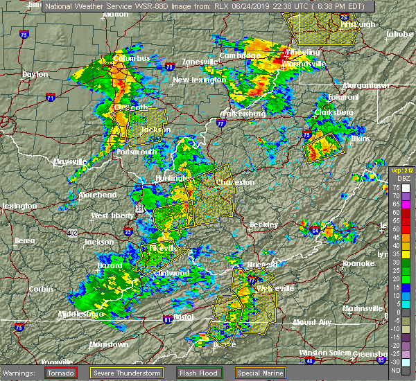 Radar Image for Severe Thunderstorms near East Bank, WV at 6/24/2019 6:44 PM EDT