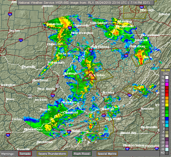 Radar Image for Severe Thunderstorms near East Bank, WV at 6/24/2019 7:15 PM EDT