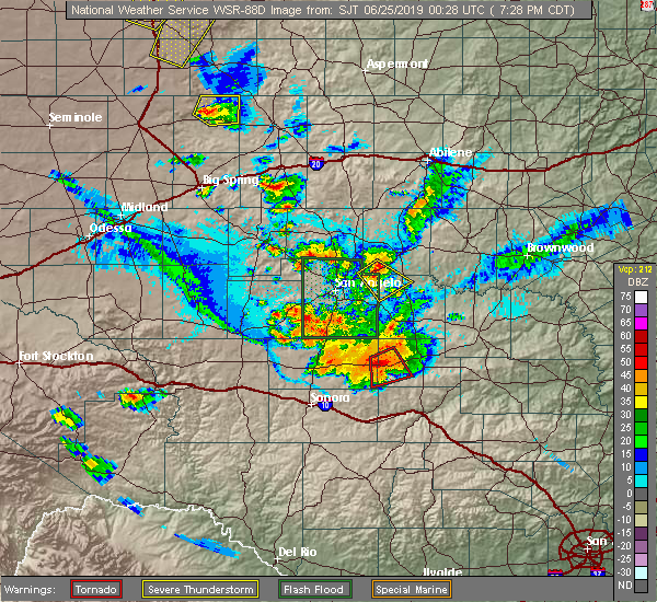 Radar Image for Severe Thunderstorms near Miles, TX at 6/24/2019 7:31 PM CDT