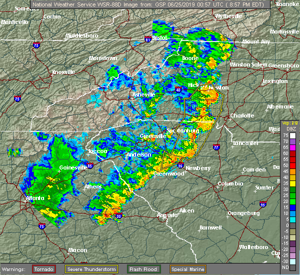 Radar Image for Severe Thunderstorms near Spencer Mountain, NC at 6/24/2019 9:03 PM EDT