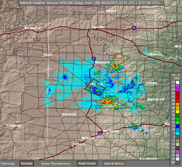 Radar Image for Severe Thunderstorms near Turkey, TX at 6/24/2019 9:39 PM CDT