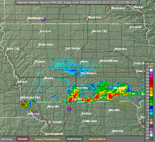 Radar Image for Severe Thunderstorms near Mystic, IA at 6/25/2019 6:41 PM CDT