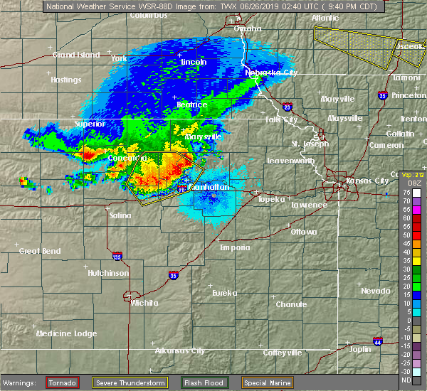 Radar Image for Severe Thunderstorms near Wakefield, KS at 6/25/2019 9:42 PM CDT