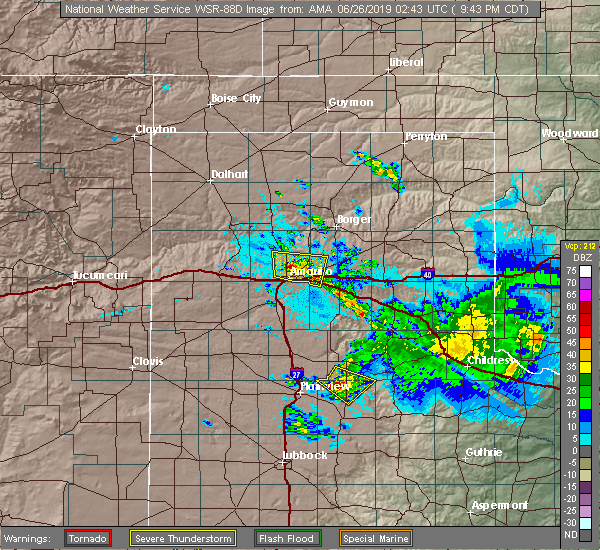 Radar Image for Severe Thunderstorms near Amarillo, TX at 6/25/2019 9:46 PM CDT