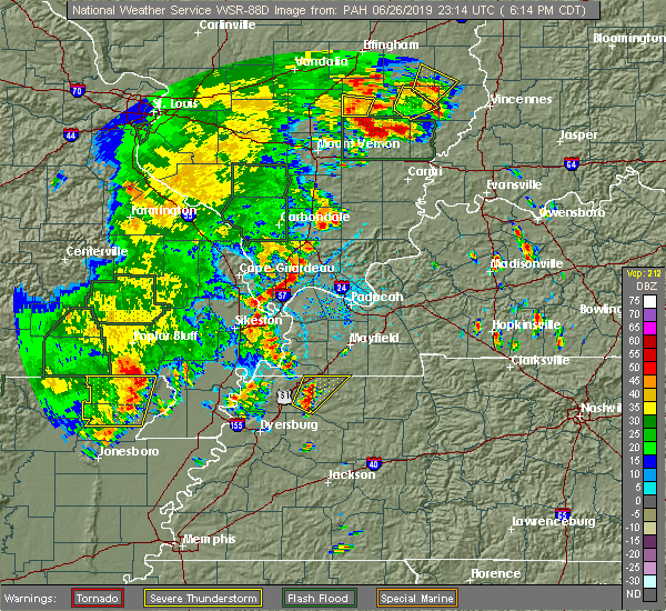 Radar Image for Severe Thunderstorms near Charleston, MO at 6/26/2019 6:20 PM CDT
