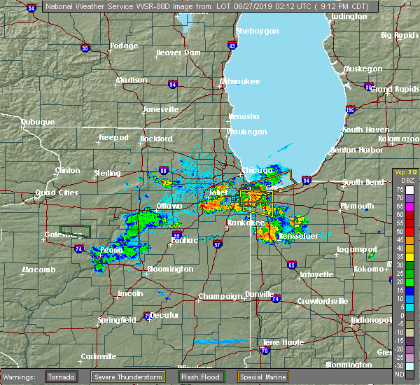 Radar Image for Severe Thunderstorms near Chicago Heights, IL at 6/26/2019 9:17 PM CDT