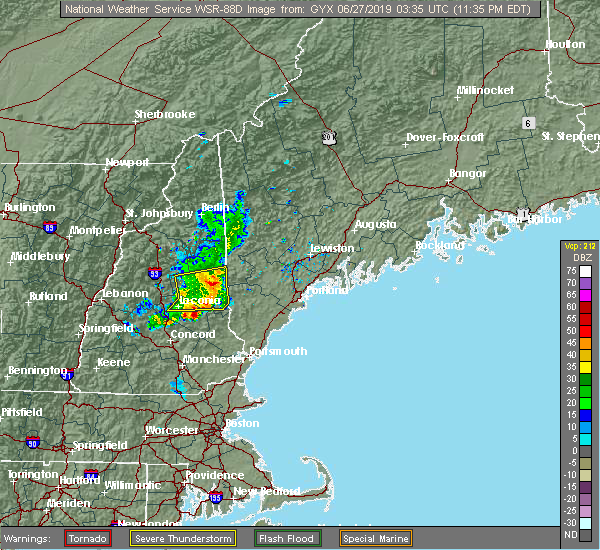 Radar Image for Severe Thunderstorms near Sanbornville, NH at 6/26/2019 11:38 PM EDT