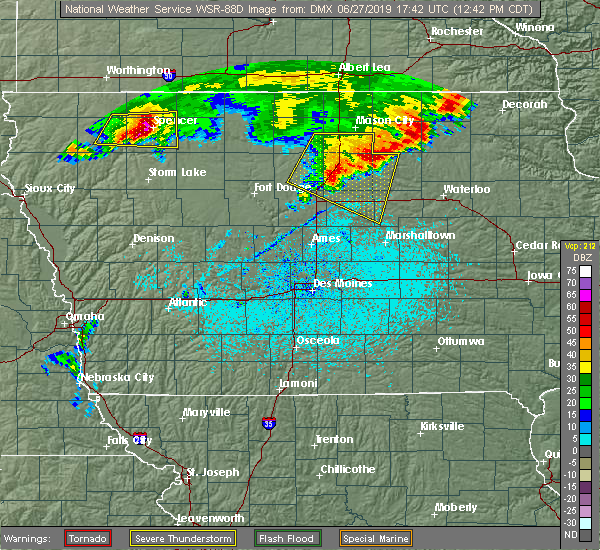 Radar Image for Severe Thunderstorms near Dows, IA at 6/27/2019 12:44 PM CDT
