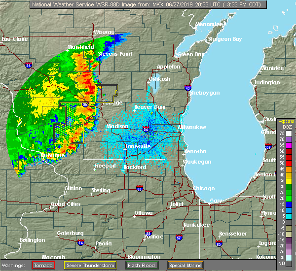 Radar Image for Severe Thunderstorms near Endeavor, WI at 6/27/2019 3:34 PM CDT