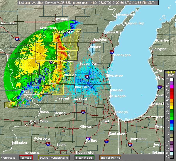Radar Image for Severe Thunderstorms near Endeavor, WI at 6/27/2019 4:01 PM CDT