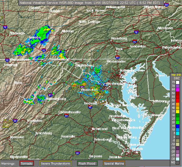Radar Image for Severe Thunderstorms near Fairfax, VA at 6/27/2019 6:54 PM EDT