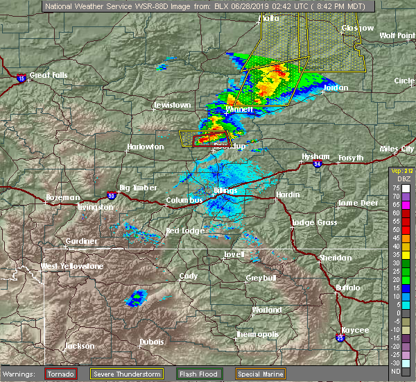 Radar Image for Severe Thunderstorms near Melstone, MT at 6/27/2019 8:48 PM MDT