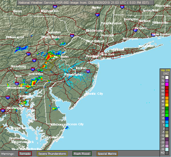 Radar Image for Severe Thunderstorms near Bally, PA at 6/28/2019 5:09 PM EDT