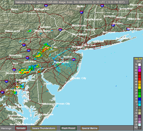 Radar Image for Severe Thunderstorms near Bally, PA at 6/28/2019 5:33 PM EDT
