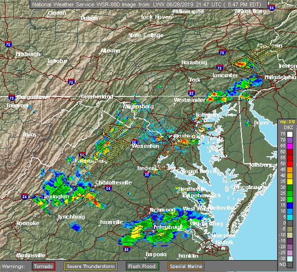 Radar Image for Severe Thunderstorms near Twin Lakes, VA at 6/28/2019 5:53 PM EDT