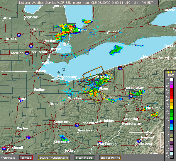 Radar Image for Severe Thunderstorms near Kirtland Hills, OH at 6/28/2019 8:20 PM EDT