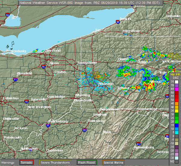 Radar Image for Severe Thunderstorms near Evans City, PA at 6/29/2019 12:44 PM EDT