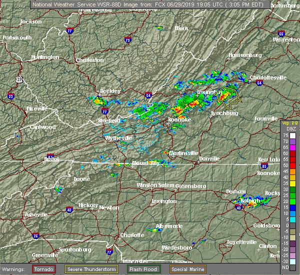 Radar Image for Severe Thunderstorms near Lovingston, VA at 6/29/2019 3:13 PM EDT