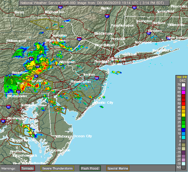 Radar Image for Severe Thunderstorms near Clayton, NJ at 6/29/2019 3:17 PM EDT