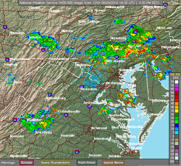 Radar Image for Severe Thunderstorms near Westminster, MD at 6/29/2019 3:32 PM EDT
