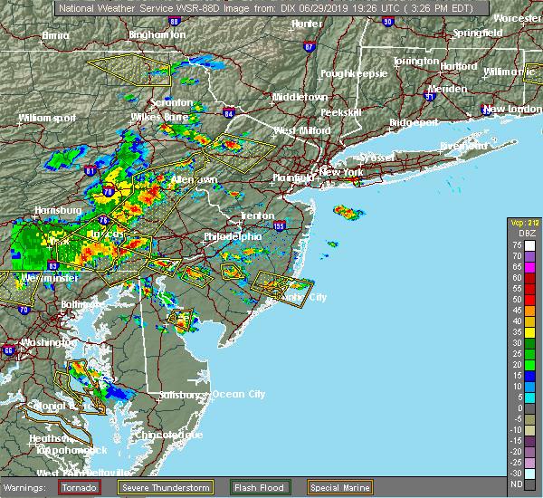 Radar Image for Severe Thunderstorms near Clayton, NJ at 6/29/2019 3:34 PM EDT