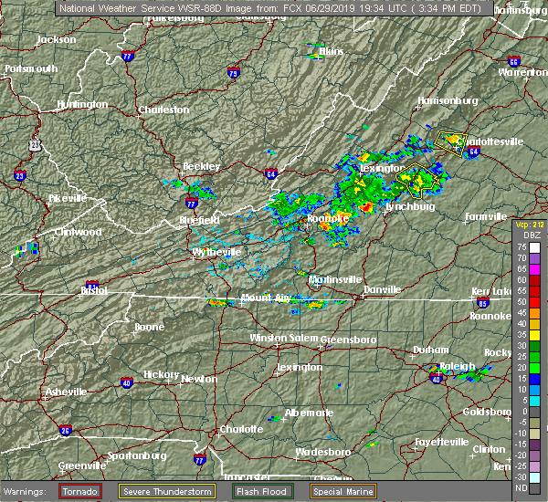 Radar Image for Severe Thunderstorms near Lovingston, VA at 6/29/2019 3:43 PM EDT