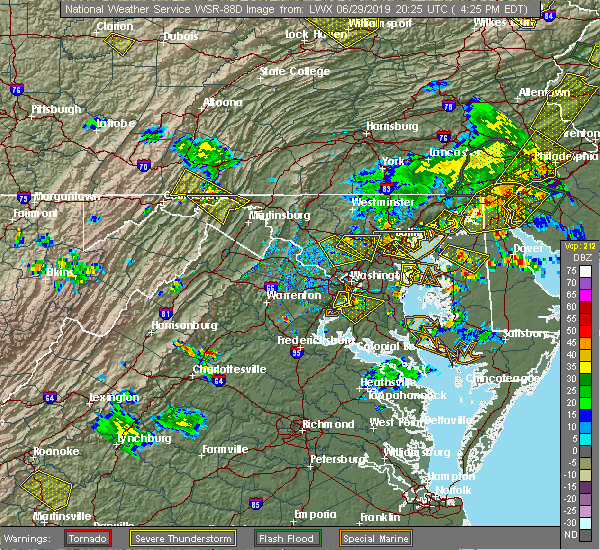 Radar Image for Severe Thunderstorms near North Laurel, MD at 6/29/2019 4:27 PM EDT