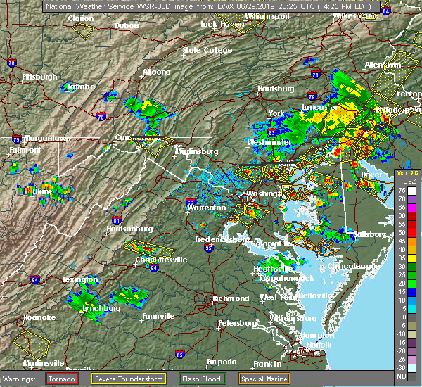 Radar Image for Severe Thunderstorms near Orange, VA at 6/29/2019 4:29 PM EDT
