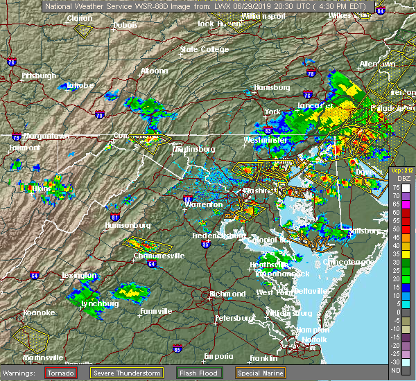 Radar Image for Severe Thunderstorms near Fort Meade, MD at 6/29/2019 4:37 PM EDT