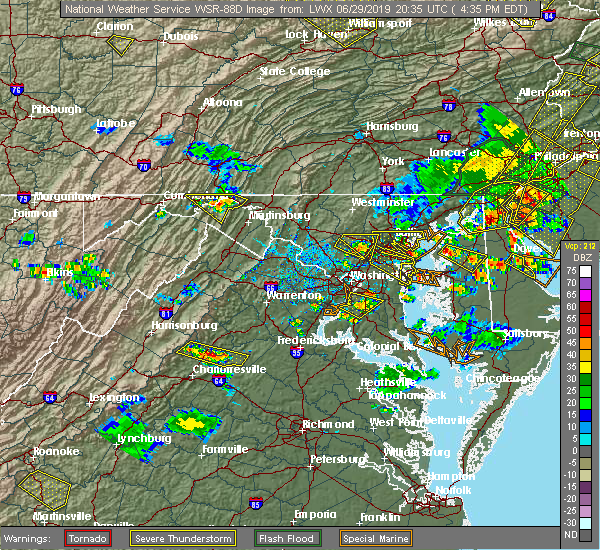 Radar Image for Severe Thunderstorms near Wheaton, MD at 6/29/2019 4:40 PM EDT