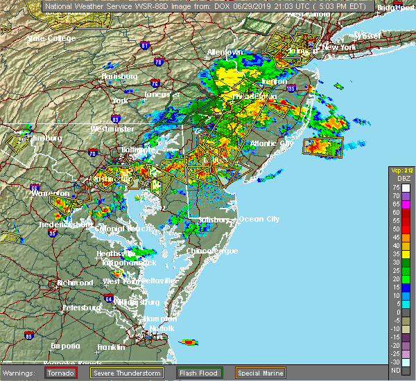 Radar Image for Severe Thunderstorms near Dover, DE at 6/29/2019 5:05 PM EDT