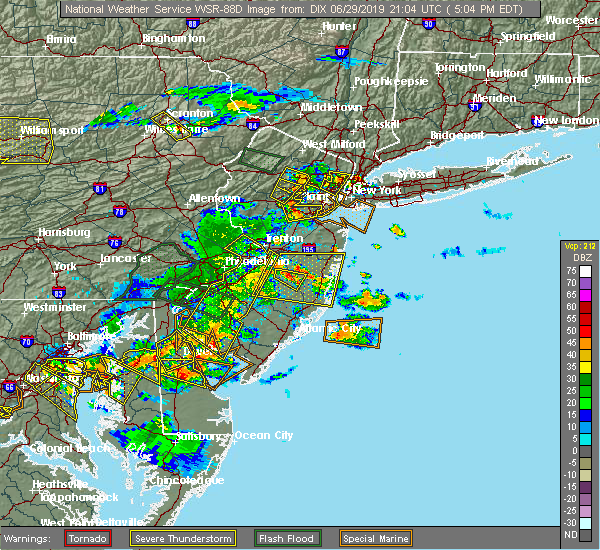 Radar Image for Severe Thunderstorms near Browns Mills, NJ at 6/29/2019 5:10 PM EDT
