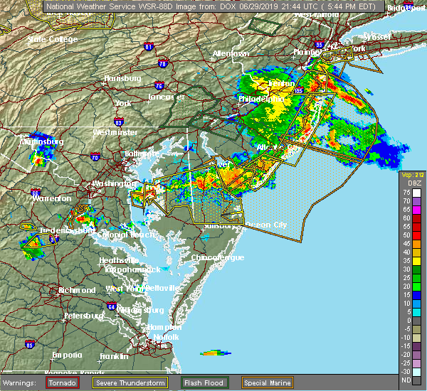 Radar Image for Severe Thunderstorms near Sea Isle City, NJ at 6/29/2019 5:51 PM EDT