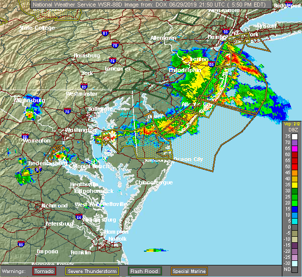 Radar Image for Severe Thunderstorms near Kent Narrows, MD at 6/29/2019 5:54 PM EDT