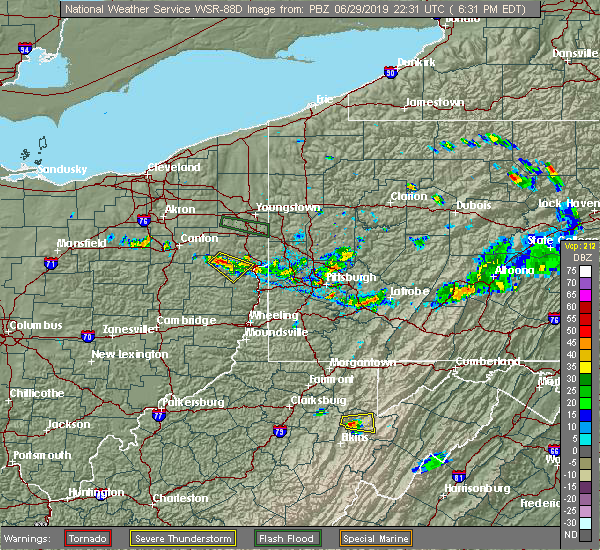 Radar Image for Severe Thunderstorms near Bergholz, OH at 6/29/2019 6:33 PM EDT
