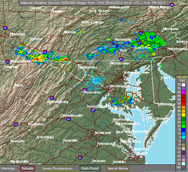 Radar Image for Severe Thunderstorms near Baden, MD at 6/29/2019 8:43 PM EDT