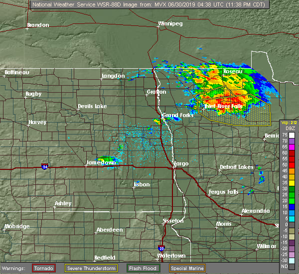 Radar Image for Severe Thunderstorms near Middle River, MN at 6/29/2019 11:39 PM CDT