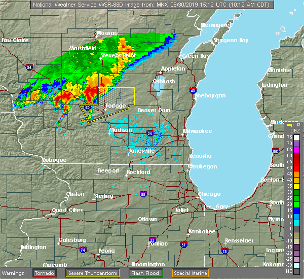 Radar Image for Severe Thunderstorms near Cambria, WI at 6/30/2019 10:15 AM CDT