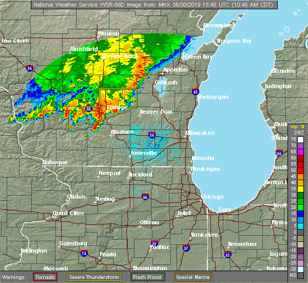 Radar Image for Severe Thunderstorms near Windsor, WI at 6/30/2019 10:51 AM CDT