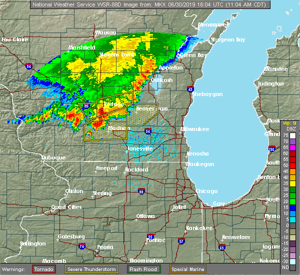 Radar Image for Severe Thunderstorms near Cambria, WI at 6/30/2019 11:09 AM CDT