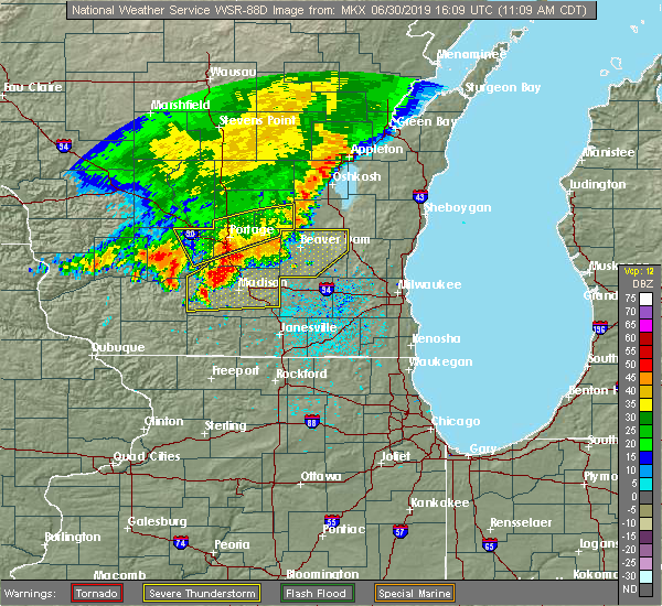 Radar Image for Severe Thunderstorms near Waupun, WI at 6/30/2019 11:13 AM CDT